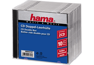 HAMA 44747 Standard CD Double Jewel Case, pack of 10, Transparent/Black