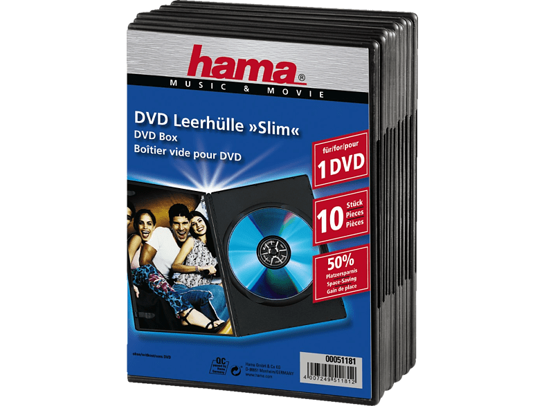HAMA 51181 Slim DVD Jewel Case, pack of 10, Black laptop  tablet  computing  αποθήκευση δεδομένων cd  dvd  blu ray αξεσουάρ θήκες