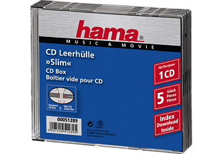 HAMA 51289 Slim CD Jewel Case, pack of 5, Transparent/Black