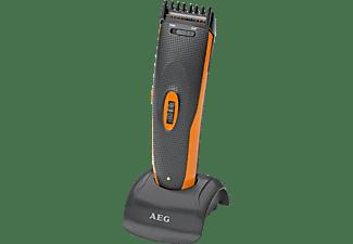 AEG. HSM/R 5597 NE Profi Haar-/Bartschneidemaschine inkl. Nasen-/Ohrhaarentferner Schwarz/Orange (Akku-/Netzbetrieb)