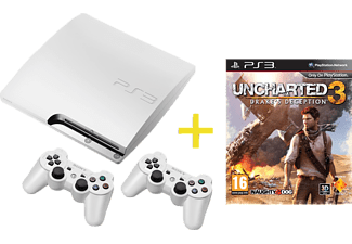 SONY PS3 320GB weiß + 2x DualShock-3 Controller + Uncharted 3: Drakes Decep