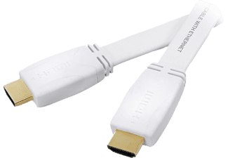 VIVANCO HDMI High Speed Ethernet kabel, flat/guld,1.5m,vit