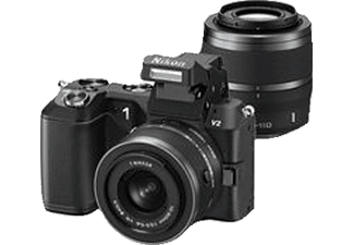 NIKON 1 V2 Kit+10-30mm+30-110mm schwarz, , 14,2 Megapixel, CMOS Sensor, 7.5 cm / 3 Zoll  Display