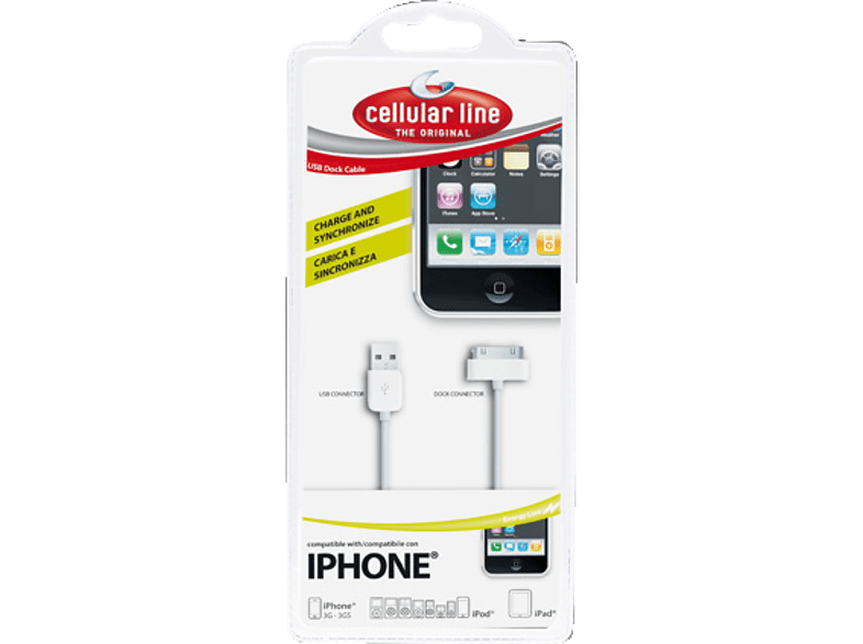 CELLULAR LINE 30-pin to USB Data Cable White smartphones   smartliving iphone φορτιστές iphone smartphones   smartliving ipho