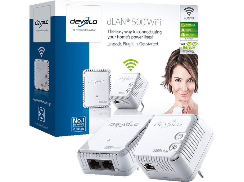 DEVOLO 9089 dLAN® 500 WiFi Starter Kit laptop  tablet  computing  δικτυακά access point  router  range extender  switch