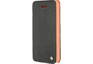 3014 Fine Bookcover Apple iPhone 5, iPhone 5s Polycarbonat/Echtleder Schwarz/Orange