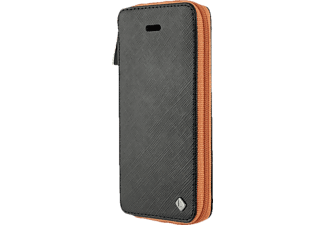 TELILEO 3512 Zip, Apple, Bookcover, iPhone 5, iPhone 5s, Polycarbonat/Echtleder, Schwarz