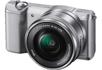 SONY Alpha 5000 (ILCE-5000LS) Systemkamera, 20.1 Megapixel, Full HD, APS-C Sensor, Near Field Communication, WLAN, 16-50 mm Objektiv, Autofokus, Silber