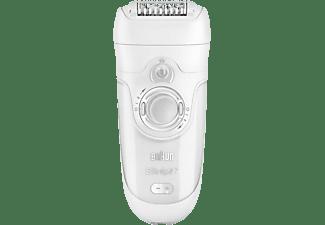 BRAUN 7929 wet&dry Silk-épil 7 Skin Spa inkl. Gesichtsreinigungs-Bürste, Wet&Dry Epilierer mit Sonic Peeling Bürste, Akku, weiß/lila