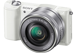 SONY Alpha 5000 (ILCE-5000LW) Systemkamera, 20.1 Megapixel, Full HD, APS-C Sensor, Near Field Communication, WLAN, 16-50 mm Objektiv, Autofokus, Weiß