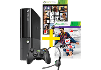 microsoft xbox 360 e 250gb fifa 14 grand theft auto v. Black Bedroom Furniture Sets. Home Design Ideas