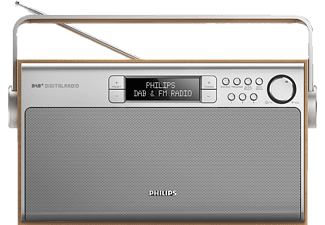 PHILIPS AE 5220/12 Digitalradio (DAB, DAB+, UKW, Silber/Holz)