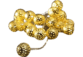 KONSTSMIDE 3158-803 kleine goldene Metallbälle LED Dekolichterkette,  Transparent/Gold,  Warmweiß