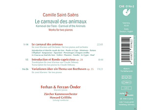 Ferhan Onder;Ferzan Önder;Zürcher Kammerorchester - Le Carnaval Des Animaux - Works For Two Pianos [CD]