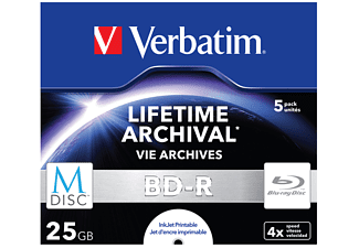 VERBATIM 43823 BD-R 25GB Single MDISC, Blu-ray-M-Disc, 5 Stk.