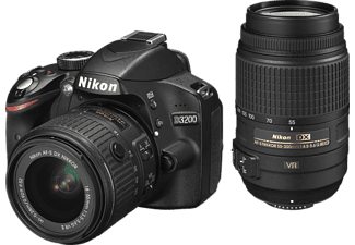 nikon d3200 spiegelreflexkameras inkl objektiv 18 55 mm 55 300 mm 24 2 megapixel mediamarkt. Black Bedroom Furniture Sets. Home Design Ideas