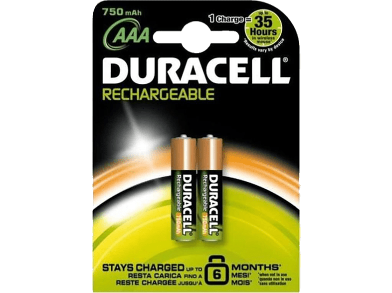 DURACELL Rechargeable 750mAh AAΑ - 2 τμχ - (81418231) τηλεόραση   ψυχαγωγία μην ξεχάσεις μπαταρίες  φορτιστές