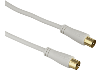 HAMA Antenna Cable, coax plug - coax socket, gold-plated, 0.75 m, 90 dB - (123255)