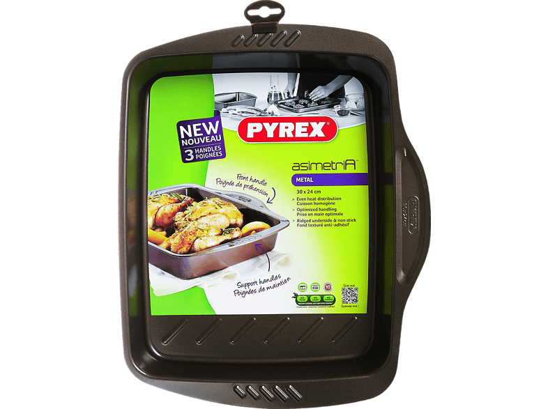 PYREX Asimetria Αντικολλητικό μεταλικό ταψί 30x24 cm - (322001) μικροσυσκευές   φροντίδα σκεύη κουζίνας ταψιά  φόρμες