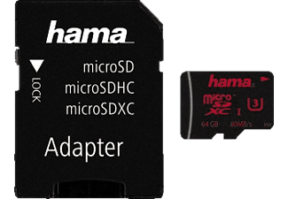 HAMA 123988 + Adapter/Action-Cam Micro-SDXC Speicherkarte, 64 GB, 80 MB/s, UHS Class 3