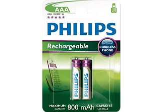PHILIPS Piles rechargeables AAA 2 pièces (R03B2A80/10)