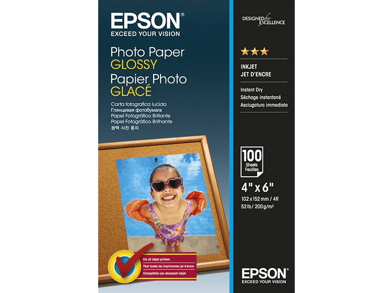 EPSON 4 x 6 Photo Paper Glossy 100 Φύλλα (200gsm) - (C13S042548) laptop  tablet  computing  εκτύπωση   μελάνια χαρτί εκτύπωσης