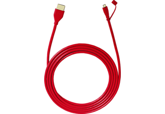 OEHLBACH MHL-Adapterkabel, Micro-USB auf HDMI i-Connect PlugX, Kabel, 2.4 m, Rot