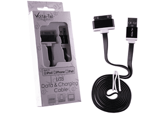 VOLTE-TEL Iphone 4/4S Flat ALUMINIUM 6mm Usb Φορτιστής-Data  1m BLACK - (5205308146312)