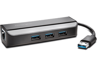 KENSINGTON UA3000E USB 3.0-Ethernet-adapter + USB 3.0-hub