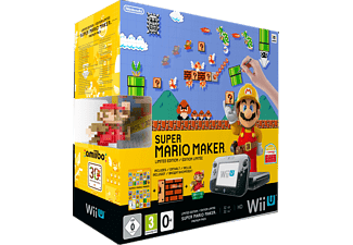 NINTENDO Wii U Premium Pack Schwarz + Super Mario Maker (vorinstalliert) + Artbook + amiibo Figur