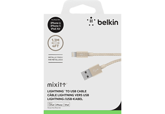 BELKIN Lightning-Kabel METALLIC, 1.2m, Metallstecker, Premium MIXit, Gold, Lightning-/USB-Kabel, 1.2 m, Gold