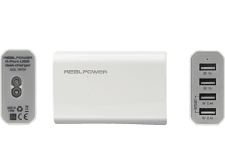 REALPOWER 4-Port USB desk charger weiß USB Ladestation
