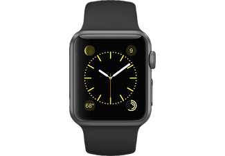 APPLE Watch 38mm Aluminiumgehäuse mit Sportband (MJ2X2FD/A), Smart Watch, Grau/Schwarz