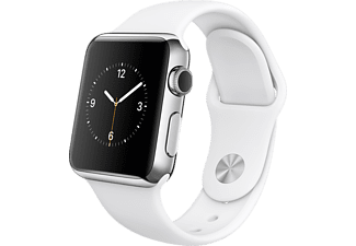 APPLE Watch 38mm roestvrij staal / wit sportbandje