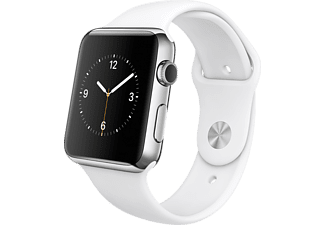 APPLE Watch 42mm roestvrij staal / wit sportbandje