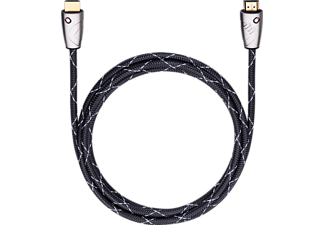 OEHLBACH Easy Connect Steel HDMI m. Eth. 2,5m, HDMI Kabel, 2500 mm, Schwarz