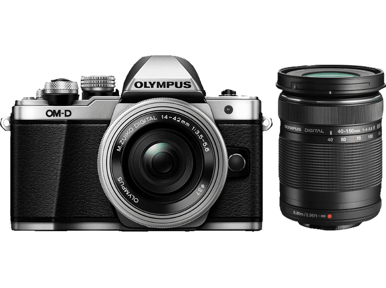 OLYMPUS E-M10 Mark II Double Kit EZ-M 14-42mm EZ+40-150mm R Silver - (V207053SE0 photo   video   offline φωτογραφικές μηχανές mirrorless cameras hobby   φωτογραφ