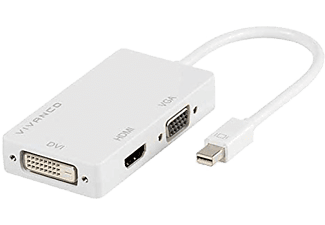 VIVANCO Mini Displayport till HDMI/VGA/DVI - Vit