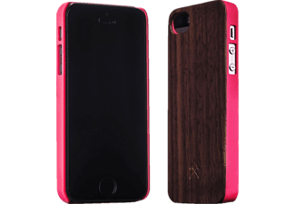 WOODCESSORIES EcoCase Carla, Apple, Backcover, iPhone 5/5s, Walnuss/Echtholz, Braun/Pink