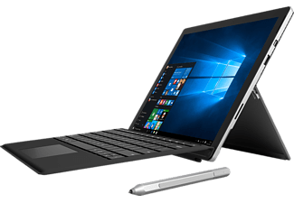 MICROSOFT Surface Pro 4 inkl. Surface Pro 4 Type Cover Schwarz, Convertible mit 12.3 Zoll, 128 GB Speicher, 4 GB RAM, Core i5 Prozessor, Windows 10 Pro, Silber