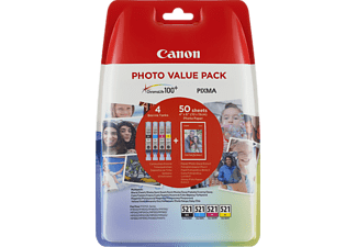 CANON CLI-521 C/M/Y/BK Tintenpatrone Photo Value Pack mehrfarbig (2933B010AA)
