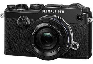 OLYMPUS PEN-F Systemkamera 20.3 Megapixel mit Objektiv 14-42 mm f/3.5-5.6, 7.6 cm Display   Touchscreen, WLAN