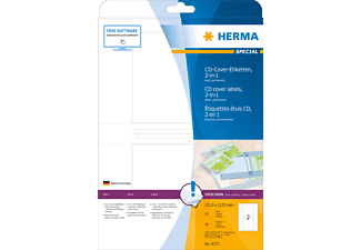 HERMA 4373 CD-Cover-Etiketten  121.5x117.5 mm A4 50 St.