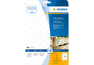 HERMA 10915 Power Etiketten  rund Ø 30 mm A4 1200 St.