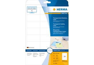 HERMA 4681 Etiketten transparent  66x33.8 mm A4 600 St.