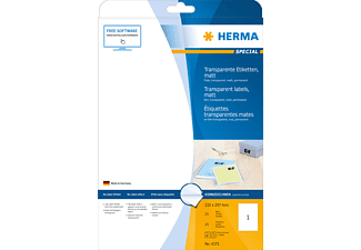 HERMA 4375 Etiketten transparent  210x297 mm A4 25 St.