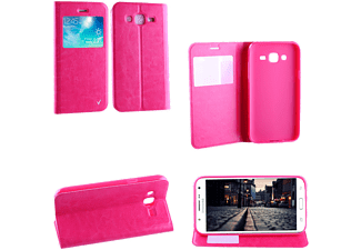 VOLTE-TEL SAMSUNG J500 GALAXY J5 LEATHER-TPU VIEW BOOK STAND Pink VL
