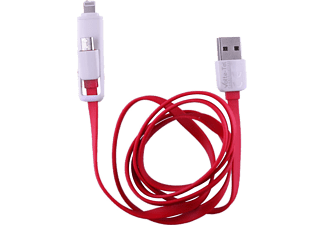 VOLTE-TEL USB 2in1 ΦΟΡΤΙΣΤΗΣ-DATA 2.1A MICRO USB+IPHONE 5 iOS9 FLAT Red - (8157219)
