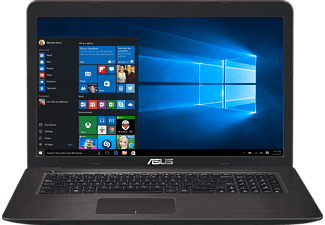 ASUS R753UX-T4150T, Notebook mit 17.3 Zoll Display, Core™ i7 Prozessor, 16 GB RAM, 1 TB HDD, 256 GB SSD, GeForce GTX 950M, Dark Brown