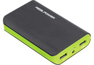 REALPOWER 180793 PB-6k Color Edition, Powerbank, Schwarz/Grün